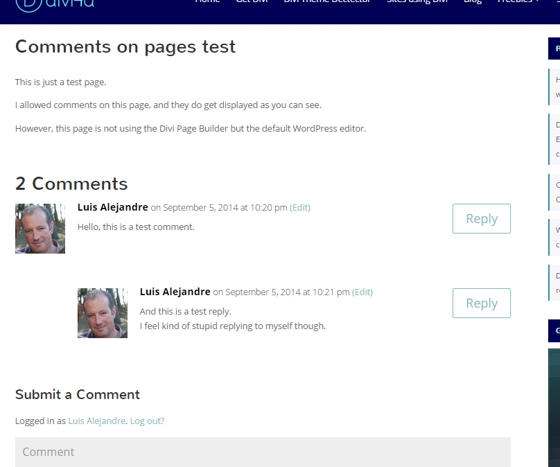 show-comments-on-pages-divi-no-pb