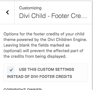 Divi Children 2.0.9 footer credits enable
