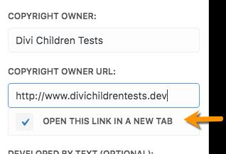 Divi Children 2.0.9 footer credits open link