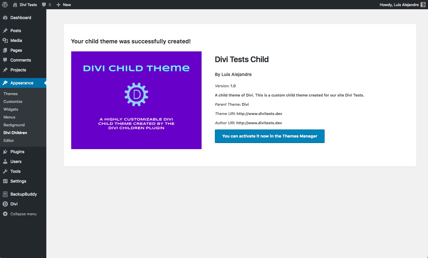 Divi Children 3.0 child created